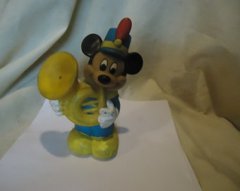 Vintage Mickey Mouse Playing Instrument Rubber Squeeze Toy, collectable, Walt Disney