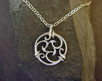 Sterling Silver Ancient Design Pendant on a Sterling Silver Chain