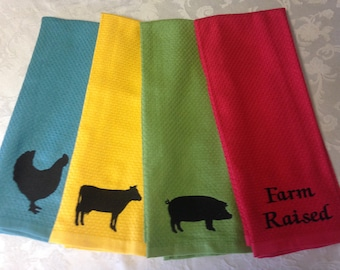 Embroideried 4-pc kitchen towel set with farm animals