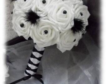 Bridal bouquet white black