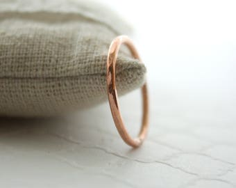 Hammered Copper Stacking Ring Single Thin Handmade Ring Copper Jewelry
