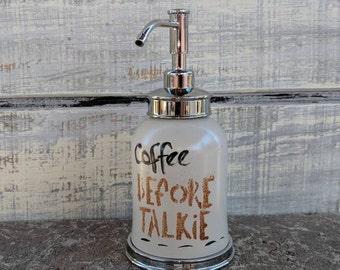 Kitchen Soap Dispenser/Crystal Glass Stainless Steel/Coffee Decor/Mocha/Kitchen Decor/Latte/Coffee/Farmhouse/Retro Kitchen/Vintage Kitchen