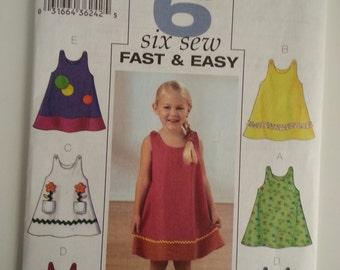 Toddler dress /Little girl / summer / sleeveless/cute/ A Line/vacation dress 2003 sewing pattern, Chest 23 24 25, Size 4 5 6, Butterick 3772