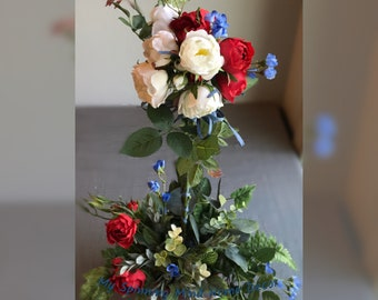 Patriotic,Desk Arrangement,Centerpiece,Memorial,Holidays,Handmade,USA,Ready To Ship,Free Shipping,My Spinning Mind Home Decor,Sale,Gift