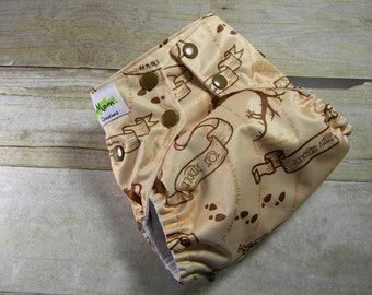 Harry Potter OS Ai2 w/ Bamboo Insert Cloth Diaper All in Two Wandering Feet Marauders Map
