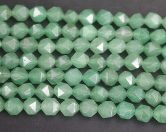 AA Star Cut Faceted Green Aventurine Beads, 6mm 8mm Faceted Nugget Green Aventurine Beads , 15 inches per strand
