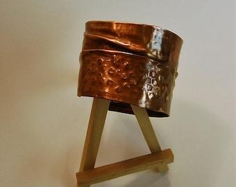 Copper cuff bracelet, forged, fold formed, hammered.