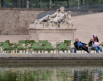 Paris Photography life imitating art reclining man and reclining statue Tuileries Garden pond green chairs fine art print