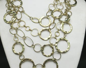 STATEMENT necklace gold tone links four strand