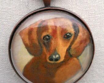 Porte-clé teckel ~ teckel Mini peinture ~ cadeaux pour lui ~ April Birthday ~ Pet souvenir ~ Portrait de chien ~ Keychain de chien