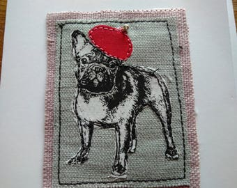 Frenchie with Beret greetings card