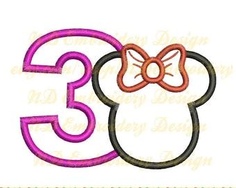 Minnie Maus 3. Geburtstag Stickerei Applikation Disney Maschine Stickerei-Design, Nummer 1-9 Auswahl, ms-029-3