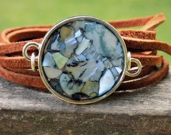 Wrap Bracelet, Abalone, Shell, Suede bracelet, Leather Jewelry, Resin Jewelry, Beach, Leather Jewelry, Women accessories, nature, terrarium