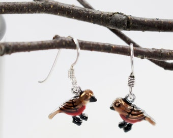 Robin red breast bird dangle drop earrings. Hand painted, hand crafted sterling silver ear wire. Nature, garden inspired design.