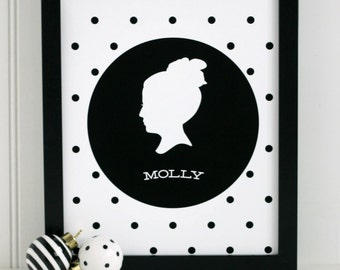 Customized Silhouette Print with polkadots - completely custom - made from your photos