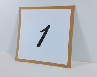 Natural Kraft Table Number Cards (set of 5) - Flat