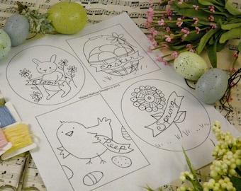 Easter bunny chick designs Pattern PDF - primitive banner stitchery hoop embroidery egg flower basket rabbit