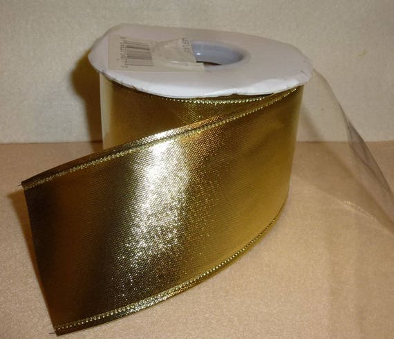 "Puppy Bows ~  metallic gold  ribbon 2.25"" x 10 yards wire edge solid  craft floral (CS2)"