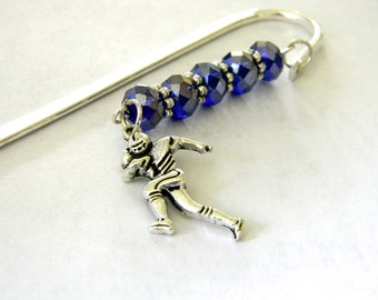 Football Player Bookmark with Cobalt Blue Glass Beads Shepherd Hook Steel Bookmark Silver Color