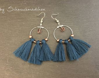 Earrings earrings blue purple tassels