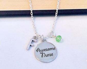 Personalized Awesome Nurse Necklace with Your Initial and Birthstone