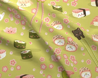 Kawaii Sushi Fabric - The Adventures Of Wasabi By Hootenannit - Kawaii Sushi Japanese Food Cotton Fabric By The Yard With Spoonflower