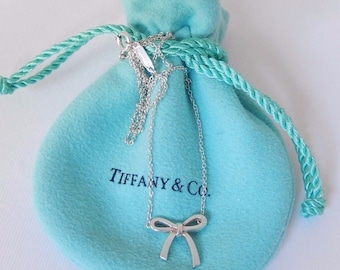 SALE: Dainty and Feminine Authentic Tiffany Sterling Silver Bow Necklace, Mint Condition
