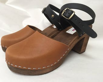 Two tone Honey oiled and Black oiled Mary Jane  on a Brown super high heel w/ wrap around ankle strap
