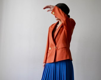 Great look / jacket orange button Electra gold cross / Vintage 80's / Made in France / women's men's Blazer / size S-m