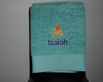 Personalized, Embroidered Bath Towel - octopus