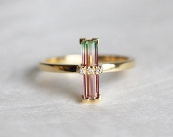 Watermelon Tourmaline Ring, Bi Color Tourmaline Ring, Unique Engagement Ring, Baguette Engagement Ring, Gold Tourmaline Ring, MinimalVS