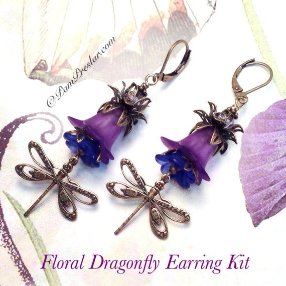 Do it yourself jewelry kit make your own earrings kit purple do it yourself jewelry kit make your own earrings kit purple floral dragonfly earring kit vintage flower design 001 from jewelrytoolbox on etsy studio solutioingenieria Gallery