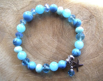 Bracelet Crystal Stainless Steel material mix natural stone