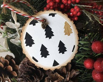 B&W Tree Wood Slice Ornament