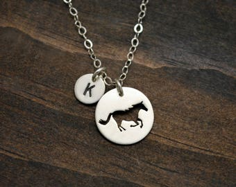Tiny Running Horse Charm Necklace  - Small Sterling Silver Pendant - Personalized Horse Lover Gift - Equestrian Jewelry - Everyday Necklace