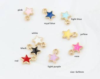 20PCS, 6x9mm, Enamel Charm, Star Charm, Enamel Star, Enamel Jewelry, Bracelet Charm, Craft Supplies, Gold Tone