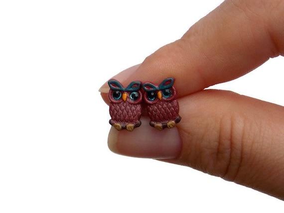 Tiny Owl Earrings - Titanium Earrings for Sensitive Ears - Owl Gifts - Titanium Stud Earrings - Owl Birthday Gifts - Cute Animal Earings