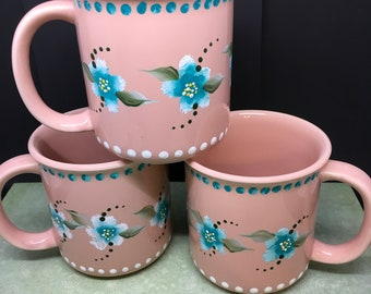 Mugs or Cups Coffee  BUY 2 GET 1 FREE Unique One of a Kind Hand Painted Special Gift Peach Set of Two Turquoise White Flowers and Details