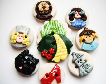 Button Oz handmade polymer clay button set ( 8 )