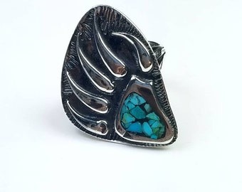 Native American Navajo handmade Sterling Silver chip inlay Turquoise stone ring