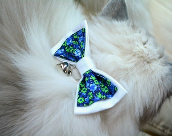 Cat Bow Tie - Cotton Bow-tie for Cat with Collar. Cat Bow Tie with Bell. Cat Collar Breakaway Buckle. Hipster cat bowtie