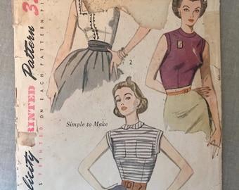 "Simplicity Blouse Pattern #3891 Vintage 1950's - NC - Incomplete - Size 14 Bust 32"" - 50s Simplicity / 1950s Blouse /"