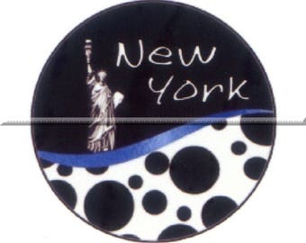 1 cabochon 25mm glass, New york, black and white tone