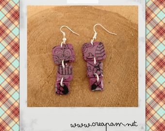 LUNA SQUARE plum and black polymer clay earrings