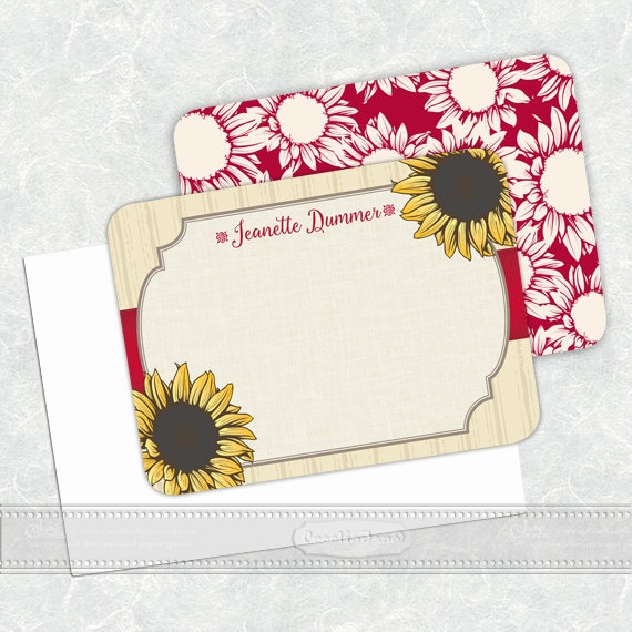 personalized notecards, notecard set, thank you cards, teacher appreciation gift, personalized stationery, sunflower notecard set, NS136