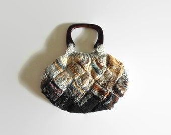 Handbag Knitted in Brown and Gray Wool