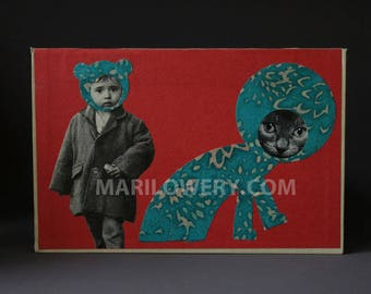 Book Cover Art, Paper Collage, Mixed Media, Original Art, One of a Kind, Boy and Cat, Weird Cat Art, frighten