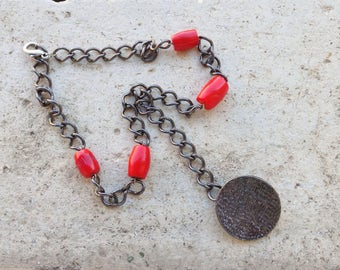 gunmetal chain necklace, red bamboo coral lariat necklace, gunmetal round button pendant necklace, Y necklace, tribal boho necklace