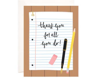 Thank You For All You Do Card: Handmade Thank You Note Greeting Card