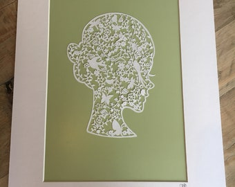 Stunning & Unique Handmade Papercut Lady. Perfect 1st Wedding Anniversary Gift